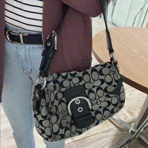 Coach black & gray shoulder bag w/silver hardware